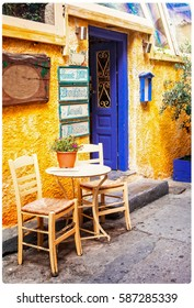 Colorful Greece - old streets with small tavernas, retro styled picture
