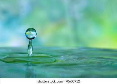 Colorful green and blue water drop and splash
