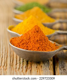 colorful  ground spices on spoons on a wooden background