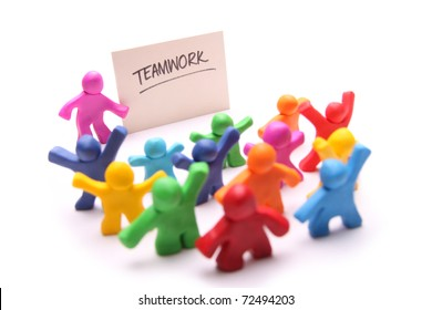 colorful group of plasticine people learning something about teamwork