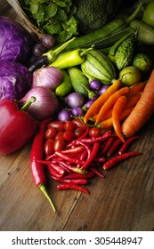 colorful group of vegetables on wood background