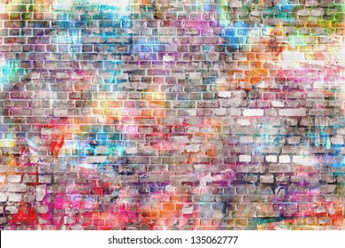 colorful grunge art wall illustration, urban art wallpaper, background