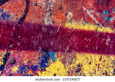 colorful grunge cracked paint concrete wall texture background