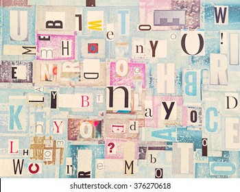 Colorful Grunge Cutout Newspaper Letters Background