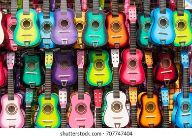 Colorful Guitars Hanging