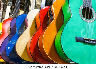 colorful guitars on the Istanbul Grand Bazaar.  Istambul, Turkey