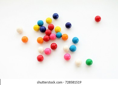 Colorful Gumballs on a White Background Isolated