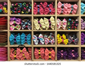 colorful hair rubber bands with bows, top view