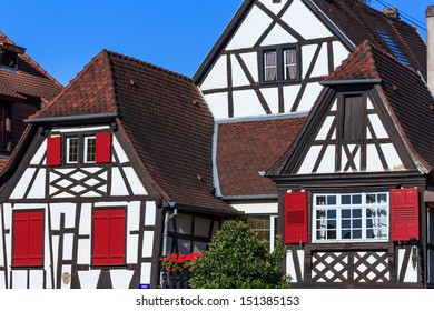 Colorful half timbered houses in Obernai, Alsace, France