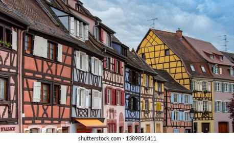 colorful half-timber ancient houses in colmar, Alsace france