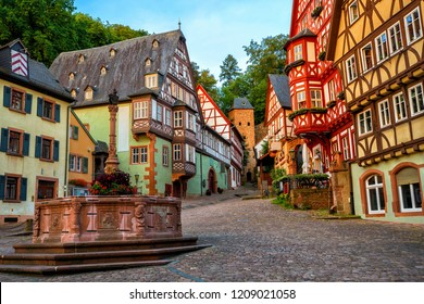 Colorful half-timbered houses in Miltenberg historical medieval Old Town, Bavaria, Germany