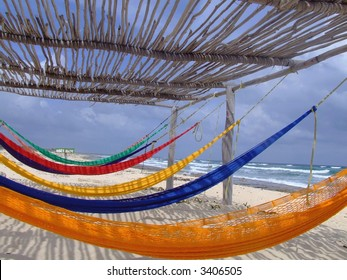 Colorful hammock on Cozumel island.