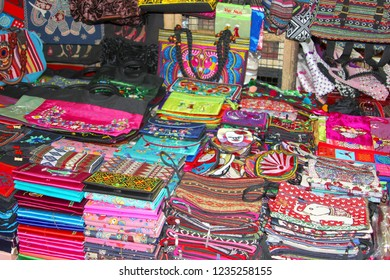 Colorful hand bags, wallets and other handicrafts at Dong Xuan market, Hanoi, Vietnam