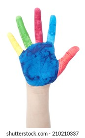 Colorful hand of a child isolated over white