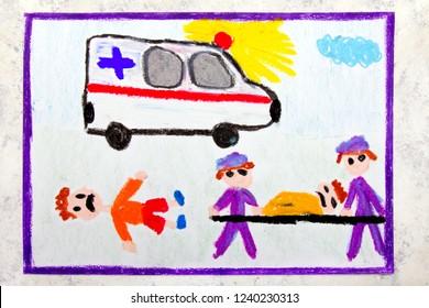 Colorful hand drawing: ambulance and paramedics. Accident victim