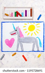 Colorful hand drawing: cute gray unicorn and big pink heart