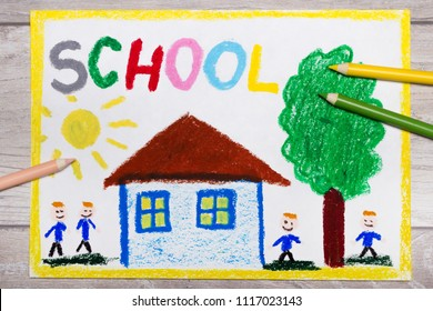 Colorful hand drawing: school building and smiling students