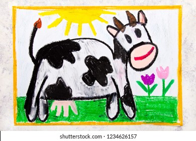 Colorful hand drawing: smiling cow in the pasture