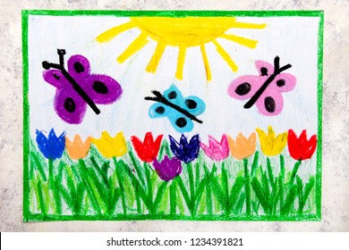 Colorful hand drawing: spring meadow with beautiful flowers and butterflies