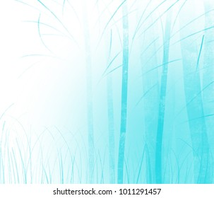 Colorful hand drawn abstract view of blue trees without leaves on white background, cartoon illustration of forest painted by watercolor and pencil paper chalk, high quality