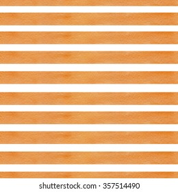 Colorful hand drawn real watercolor seamless pattern with orange horizontal strips on white background.