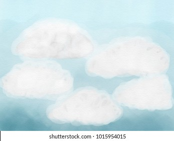 Colorful hand drawn sky as abstract blue watercolor texture background, illustration of clouds on blue sky painted by watercolor on canvas, high quality