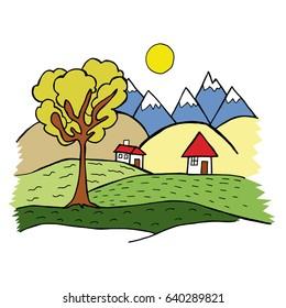colorful hand drawn village landscape