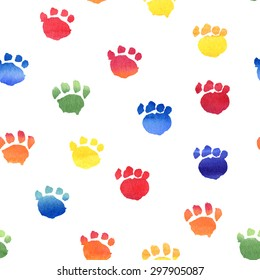 Colorful hand drawn watercolor seamless pattern with animal footprints