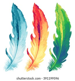 Colorful hand drawn watercolor vibrant feather set. Boho style. illustration isolated on white background. Bird fly design for T-shirt, invitation, wedding card.Rustic Bright colors.