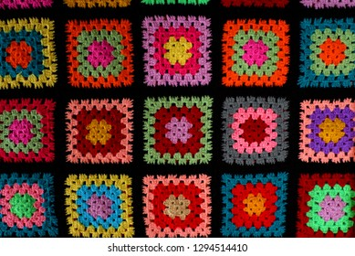 Colorful Hand Knit Patchwork Blanket