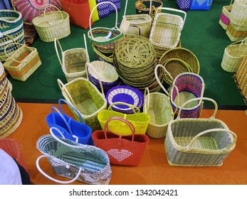 Colorful hand made rattan basket made by local Malaysian people