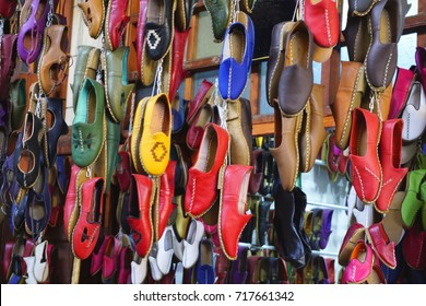 Colorful Hand made shoes at the market of Gaziantep, Turkey