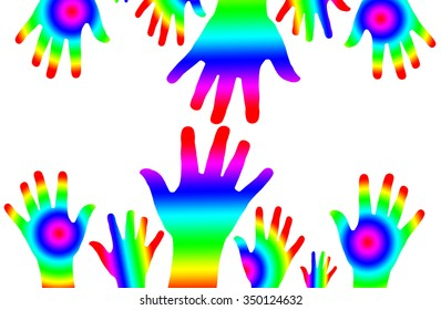 colorful of hand on white background