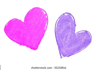 Colorful hand painted heart shapes draw on an white background