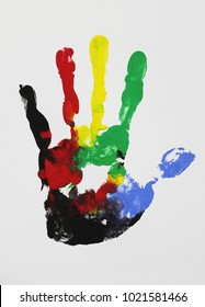 colorful hand print with fingers on isolated white background