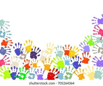 Colorful Hand Prints, 3D illustration