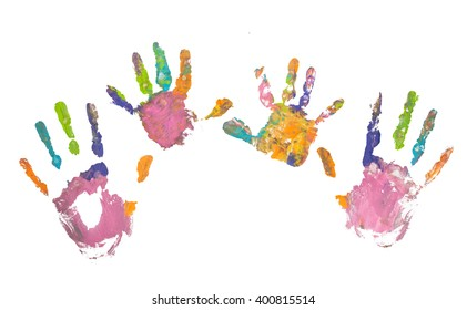 Colorful hand prints of mother and kid on white background. Set of rainbow colored hand prints. Family concept.
