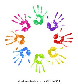 a lot of colorful hand prints on white background