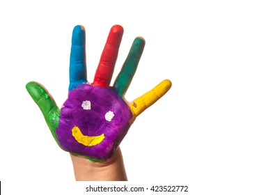 Colorful hand with smile painted with different colors of child