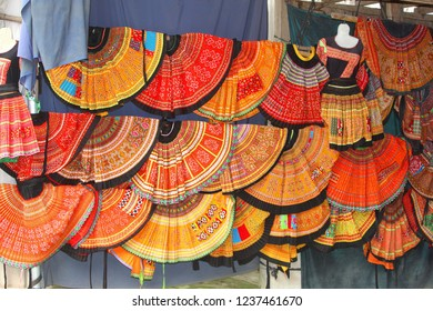 Colorful hand woven traditional clothing of ethnic hill tribes at the market, Mai Chau, Vietnam
