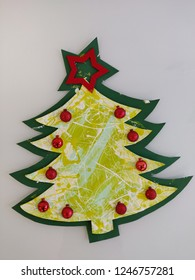 Colorful handcrafted Christmas tree.