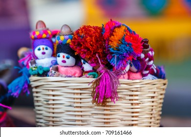 Colorful handcrafts at the San Juan Chamula street market, Chiapas, Mexico.