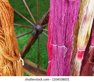 Colorful hand-dyed skeins of yarn hang in front of a wooden spinning wheel against a natural backdrop of green grass outdoors.