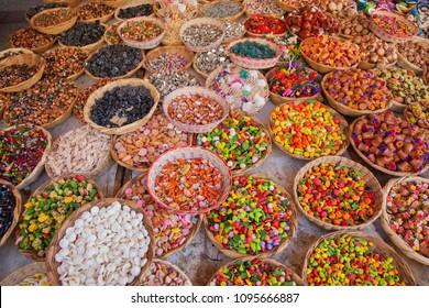 colorful handicrafts in Tonala municipality, Jalisco Mexico.