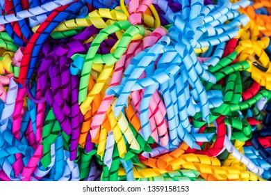 Colorful handmade curly ribbon hair ties