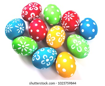 Colorful handmade easter eggs isolated on a white.