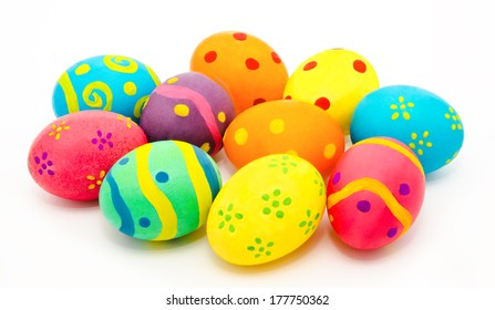 Colorful handmade easter eggs isolated on a white background