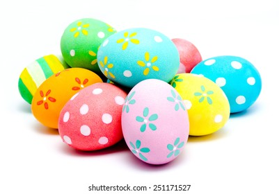 Colorful handmade easter eggs isolated on a white