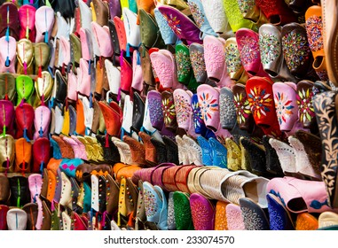 Colorful handmade leather shoes in Marrakesh, Morocco