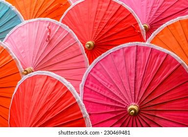 Colorful of handmade natural cotton umbrellas